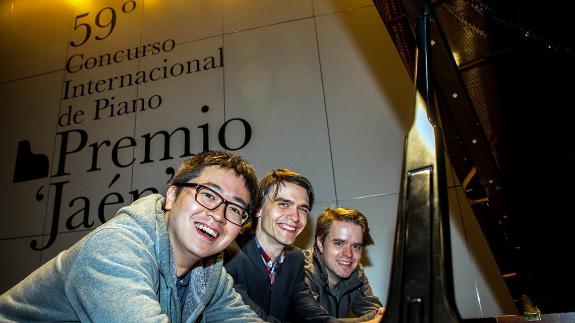 Leon Bernsdorf, Dmitry Mayboroda and Chun Wang, finalists of the 59th Jaén International Piano Competition